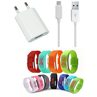 USB Travel Charger and LED Waterproof Digital Jelly Watch Combo for HTC One M9e