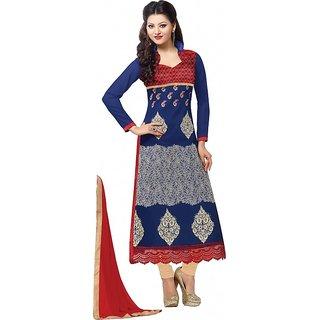 Urwashi Routela Georgette Blue Red Semi Stitched Salwar suits