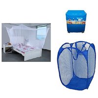 Jim-Dandy Pack of 3- Single Bed Mosquito Net+Washing Machine Cover+Foldable Net Laundary bag