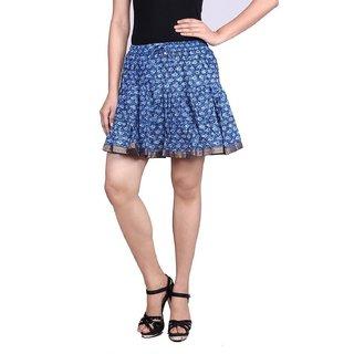 Beautiful Designer Blue Printed Mini Skirt
