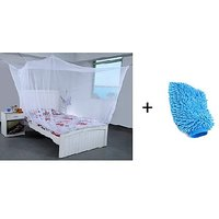 Jim-Dandy Pack of 2- 1 Single Bed Mosquito Net +Microfibre Gloves
