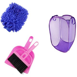 Jim-Dandy Pack of 3- Net Laundary Bag+ Microfibre Gloves+Mini Dustpan