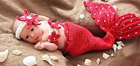 Handmade Red Mermaid, Baby Infant Crochet Photo Prop 0 size gift clothes