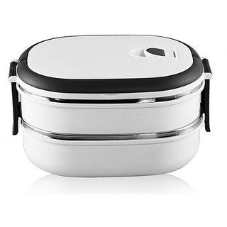 Double Layer Oval 2 Containers Lunch Box - White