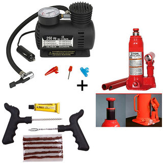 Combo of Car Tyre Inflator + Hydraulic 2.0 Ton Jack + Tubeless Tyre Puncture Rep