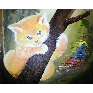 DUVA ARTS   Cute kitten painting for kids room