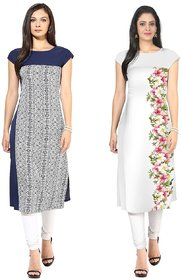 Ziyaa Pack of 2 Multicolor Printed Crepe Straight Stitched Kurti For Women