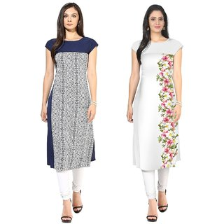 Ziyaa Multicolor Printed Crepe Straight Stitched Kurti For Women