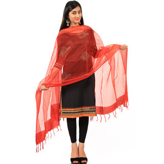 Chanderi Red gold print