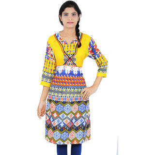 Cotton Lycra Printed Medium Length Casual Wear Women Kurti