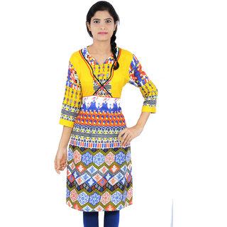 Cotton Lycra Printed Medium Length Casual Wear Women Kurti