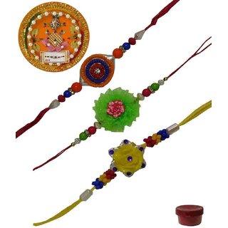 Laviva ROB13409 Pleasurable Set of Three Fancy Rakhis with Thali