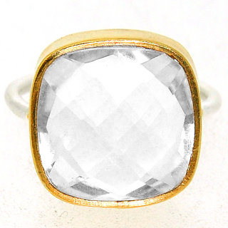Casa De Plata White Crystal Gold Plated Ring