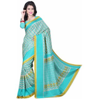 Fabplus Green Silk Printed Saree With Blouse