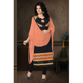 Aaina Black Cotton Embroidered Dress Material (SB-3238)