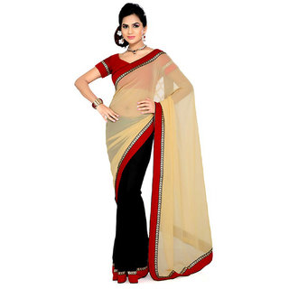 Neeta Yellow Chiffon Designer Partywear saree with blouse Piece