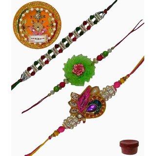 Laviva ROB13413 Precious Set of 3 Fancy  Zardosi Rakhis with Thali