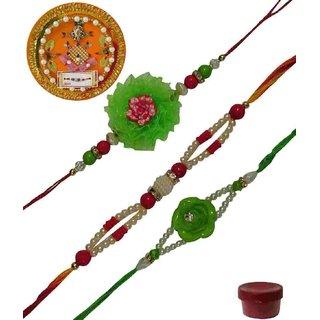 Laviva ROB13416 Pleasurable Set of Three Fancy Rakhis with Thali