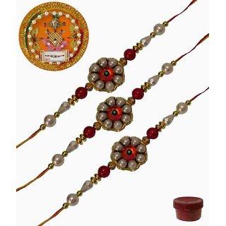 Laviva ROB13417 Pleasurable Set of Three Fancy Rakhis with Thali