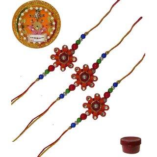 Laviva ROB13420 Pleasurable Set of Three Fancy Rakhis with Thali