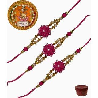Laviva ROB13421 Pleasurable Set of Three Fancy Rakhis with Thali