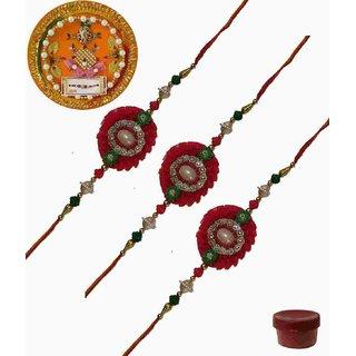 Laviva ROB13422 Pleasurable Set of Three Fancy Rakhis with Thali