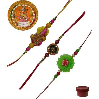 Laviva ROB13425 Precious Set of 3 Fancy  Zardosi Rakhis with Thali