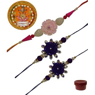 Laviva ROB13428 Pleasurable Set of Three Fancy Rakhis with Thali