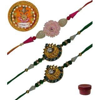 Laviva ROB13429 Precious Set of 3 Fancy  Zardosi Rakhis with Thali