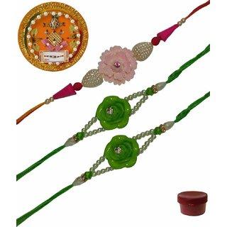 Laviva ROB13430 Pleasurable Set of Three Fancy Rakhis with Thali
