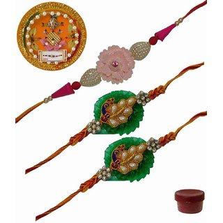 Laviva ROB13432 Precious Set of 3 Fancy  Zardosi Rakhis with Thali