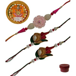 Laviva ROB13433 Precious Set of 3 Fancy  Zardosi Rakhis with Thali