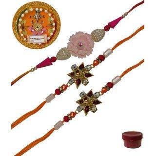 Laviva ROB13436 Pleasurable Set of Three Fancy Rakhis with Thali
