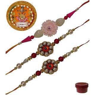 Laviva ROB13437 Pleasurable Set of Three Fancy Rakhis with Thali