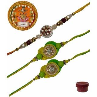 Laviva ROB13439  Precious Set of 3 Fancy  Zardosi Rakhis with Thali