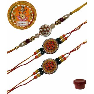 Laviva ROB13440 Pleasurable Set of Three Fancy Rakhis with Thali