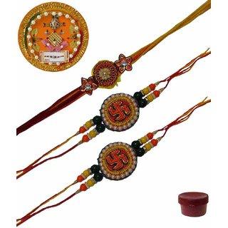 Laviva ROB13441 Pleasurable Set of Three Fancy Rakhis with Thali