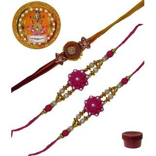 Laviva ROB13443 Pleasurable Set of Three Fancy Rakhis with Thali