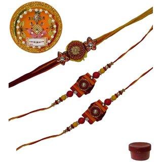 Laviva ROB13445 Pleasurable Set of Three Fancy Rakhis with Thali