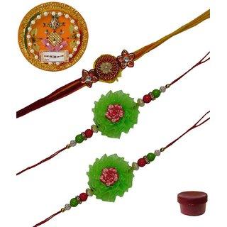 Laviva ROB13446 Pleasurable Set of Three Fancy Rakhis with Thali