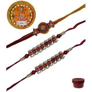 Laviva ROB13448 Pleasurable Set of Three Fancy Rakhis with Thali