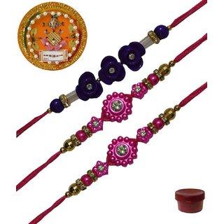 Laviva ROB13450 Pleasurable Set of Three Fancy Rakhis with Thali