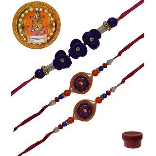 Laviva ROB13451 Pleasurable Set of Three Fancy Rakhis with Thali