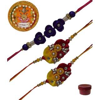 Laviva ROB13452  Precious Set of 3 Fancy  Zardosi Rakhis with Thali