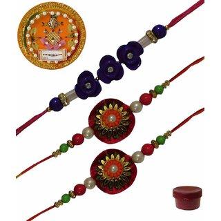 Laviva ROB13454 Pleasurable Set of Three Fancy Rakhis with Thali
