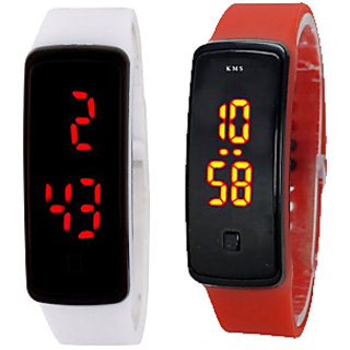 NEW LED Watch COMBO for boys/girls by Duskywings  (RED+ WHITE)