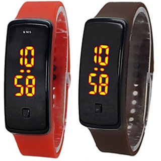Latest LED Watch COMBO for boys/girls by Duskywings (RED + BROWN)