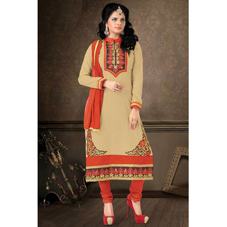 Aaina Beige Cotton Embroidered Dress Material (SB-3241)