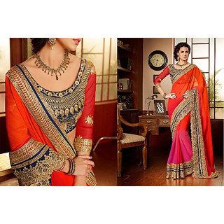 Mahesh Orange Chiffon Designer Partywear saree with blouse Piece