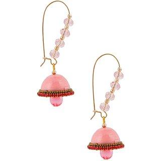YogyaMart Designer Pink Hancrafted Kidney Hook Jhumka